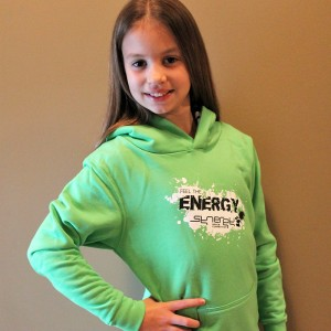 Green hoodie in small, medium and large